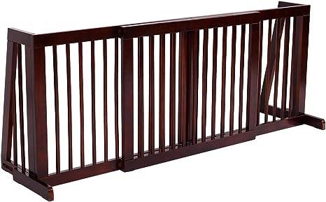 COSTWAY Barrera de Seguridad Extensible Valla de Madera para Puerta Escalera Protección para Bebé Perro Mascotas: Amazon.es: Bebé