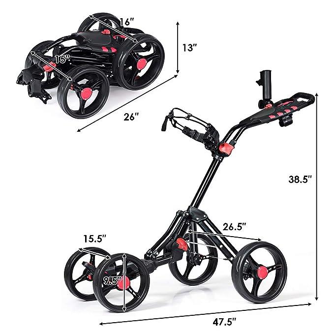 Amazon.com: Tangkula - Carrito de golf, 4 ruedas, plegable ...