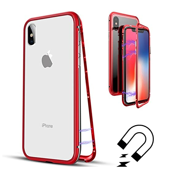 info for cc8da 0f97d QLTYPRI iPhone XR Case, Magnetic Adsorption Metal Frame Case Aluminum 9H  Tempered Glass Back Cover [NO Tempered Glass in Front] [Support Wireless ...