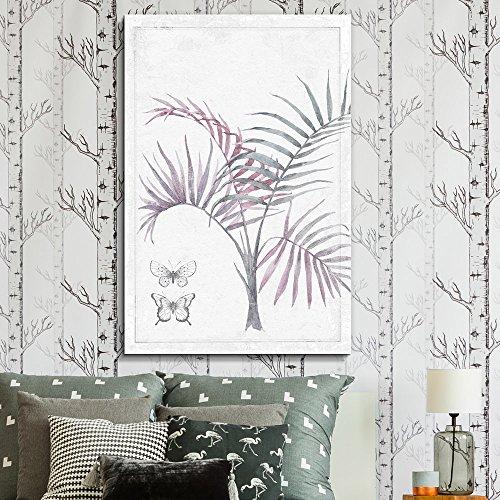 Watercolor Paint Abstract Purple Leaf Butterflies Series Artwork