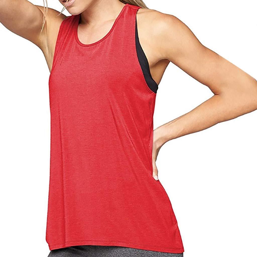 Leoy88 Women Training Yoga Gym Waistcoat Blouses Running Jogger Sport Vest Tops Red