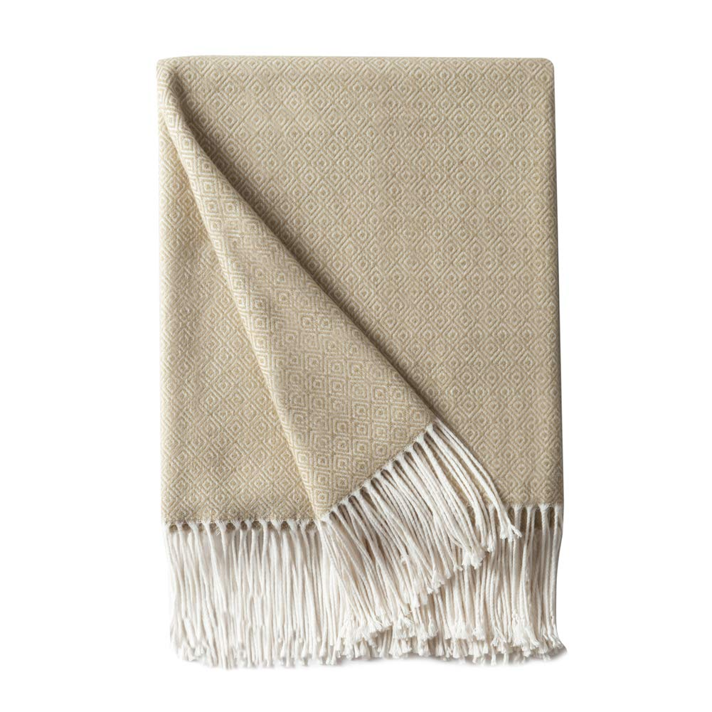 """BOURINA Decorative Diamond Lattice Faux Cashmere Fringe Throw Blanket Lightweight Soft Cozy for Bed or Sofa Farmhouse Outdoor Throw Blankets, 50"""" x 60"""", Beige"""