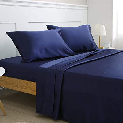 Vonty 4 Piece Satin Bed Sheet Set, Queen Size Navy Blue Bedding Sheets Set