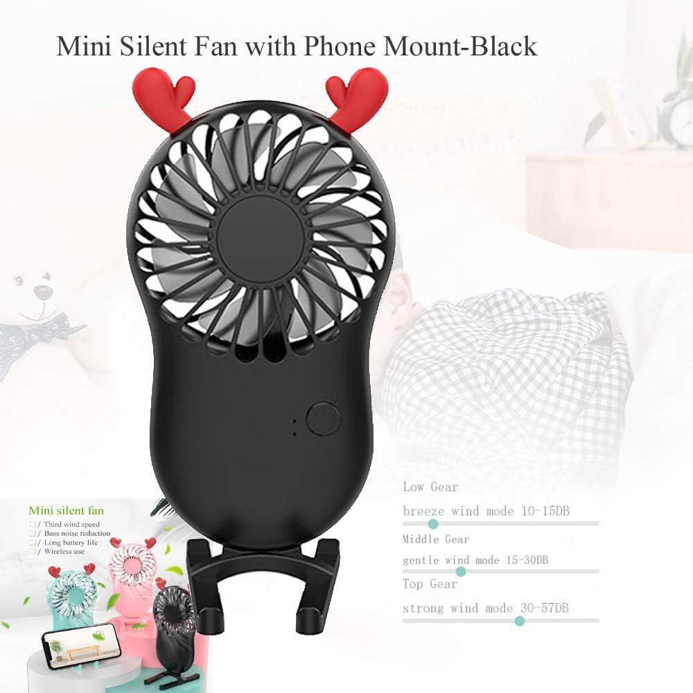 Black Plastic Design USB Powered Lovely Fan Mini USB Desk Fan with Phone Mount,Personal Portabel Cooling Fan Small Table Fan Quiet Fan