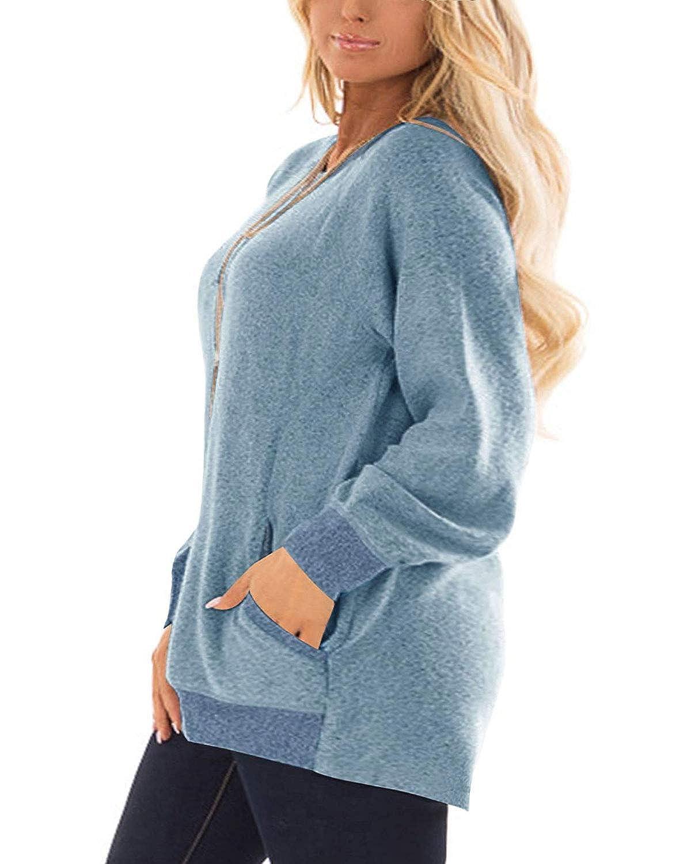 DOLNINE Womens Plus Size Sweatshirts Color Block Long Sleeve Pocket Shirts Tops