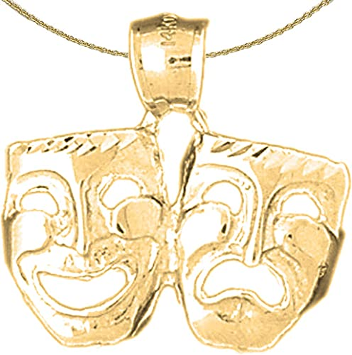 Laugh Now Jewels Obsession Silver Drama Mask Laugh Now Cry Later Pendant 14K Yellow Gold-plated 925 Silver Drama Mask Cry Later Pendant