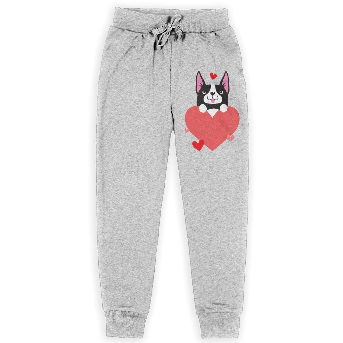 Youth Active Basic Jogger Fleece Pants for Teen Boy WYZVK22 Cartoon Boston Terrier Holding Heart Soft//Cozy Sweatpants