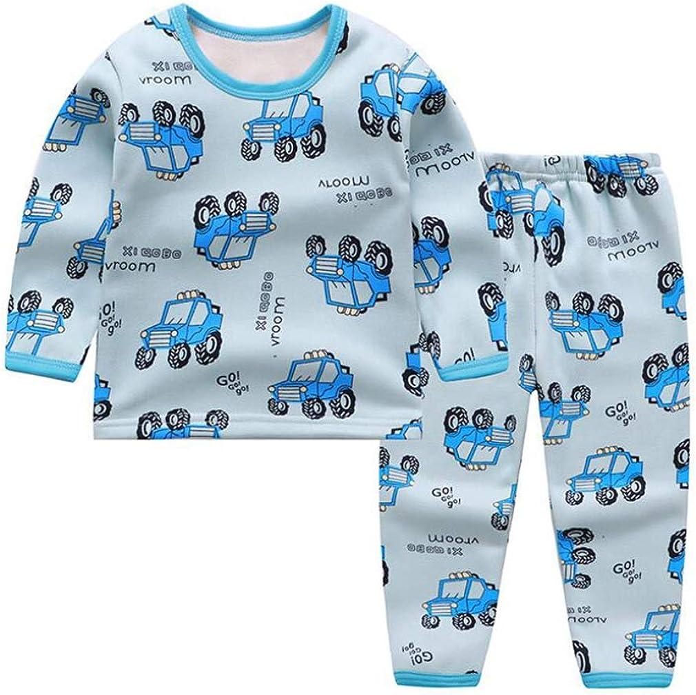 Kids Winter Thermal Underwear Long Sleeve Top and Long Pants 2Pcs Outfit Boys Girls Soft Comfort Plush Warm Pyjamas Set Children Cute Cartoon Print Sleepwear