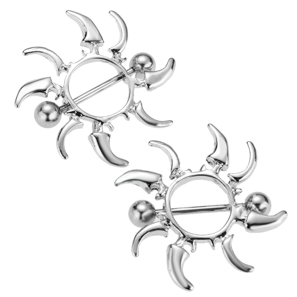 MagiDeal 1 Pair Sun Flower Longhorn NippleRing Barbell Shield 14 Gauge Piercing non-brand