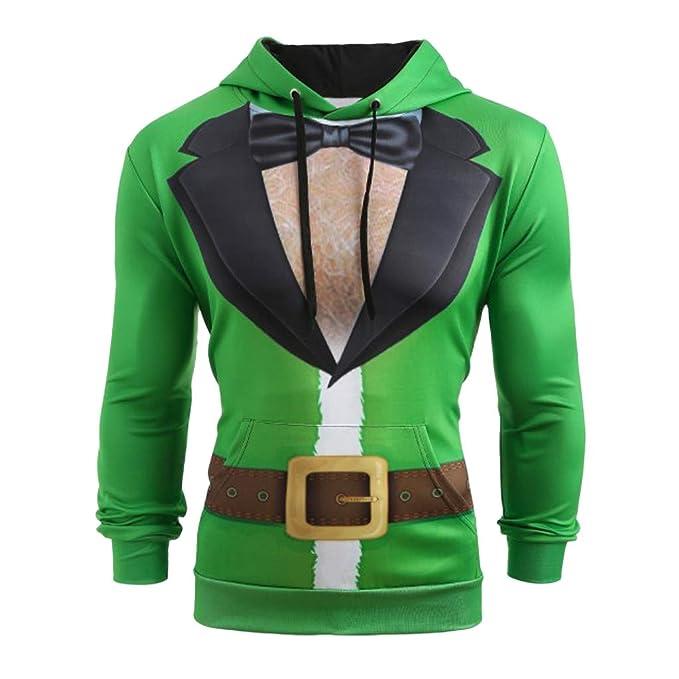 Internet-Sudadera con Capucha de Navidad, Estampado de Navidad en 3D, Suéter de Manga Larga con Capucha para Hombre, Camisa Acolchada, Suéter (Verde M-5XL): ...