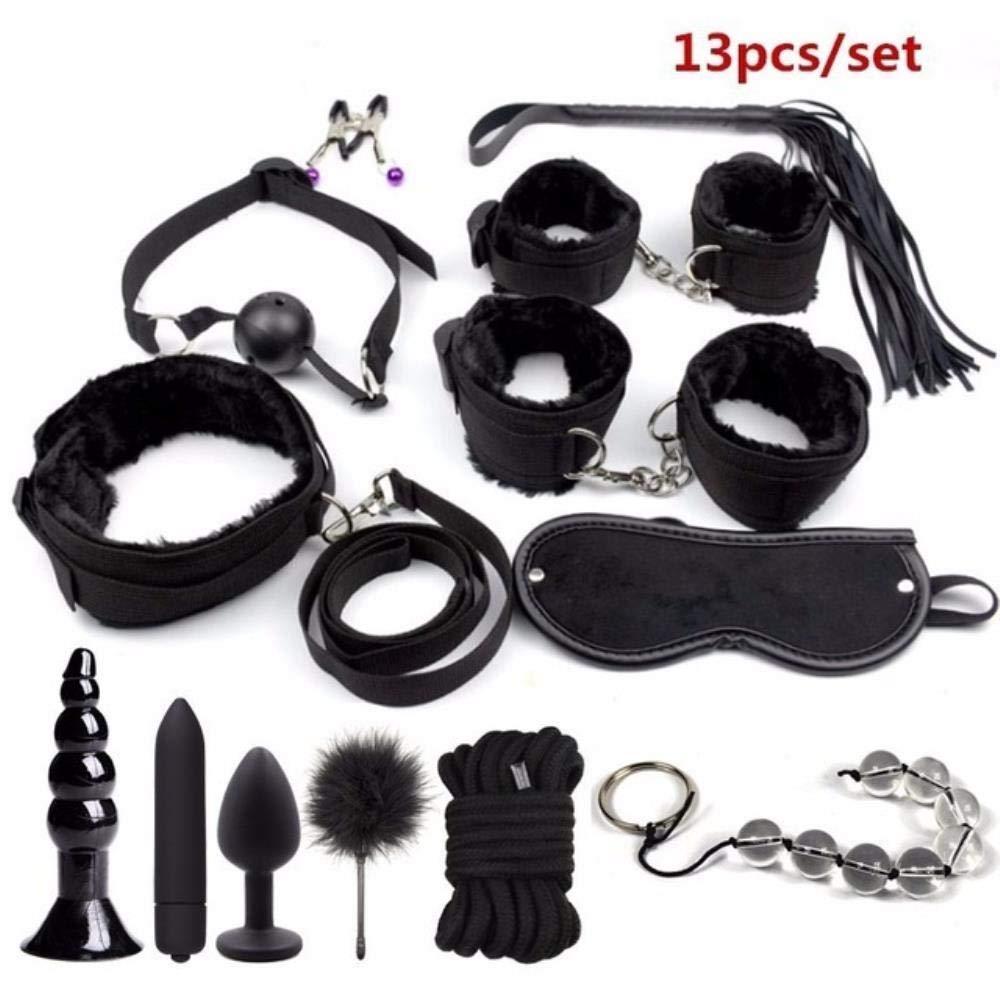 Craige 13pcs/Set BDSM Bondage Restraint Set Sex Handcuffs Whip Anal Beads Butt Plug Anal Plug Bullet Vibrator Sex Toys for Woman Adults,13pcs Black