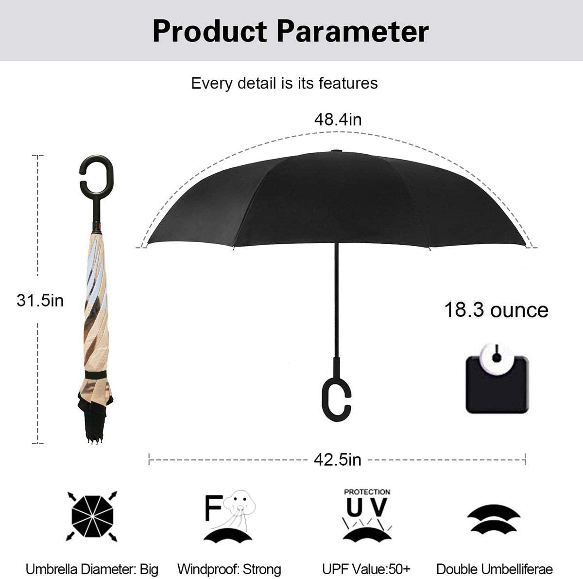 With C-Shaped Handle UV Protection Inverted Folding Umbrellas Windproof And Rainproof Double Folding Inverted Umbrella John Wick Car Reverse Umbrella