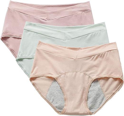 April Story Bragas Algodón a Prueba de Fugas Ropa Interior 3 Unids Menstrual Niñas Pantalones Fisiológicos Cintura Alta Mujeres Posparto Calzoncillos,L: Amazon.es: Hogar