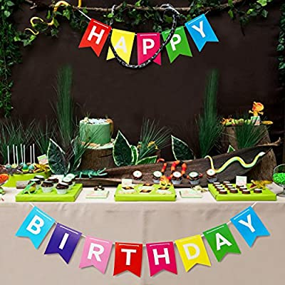 Novelty Place Rainbow Happy Birthday Banner Bunting, Multicolor Letter Birthday Party Hanging Decorations (6.5 Ft & 8.5 Ft): Toys & Games