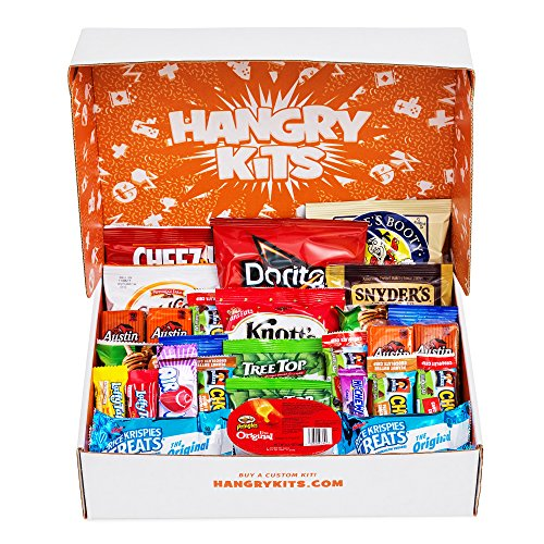 Gift Kids Box (HANGRY KIT - Essential Kit -Sweet and Salty Snack Care Package - Gift Pack - Variety of 40 Chips, Candies & Cookies Included)