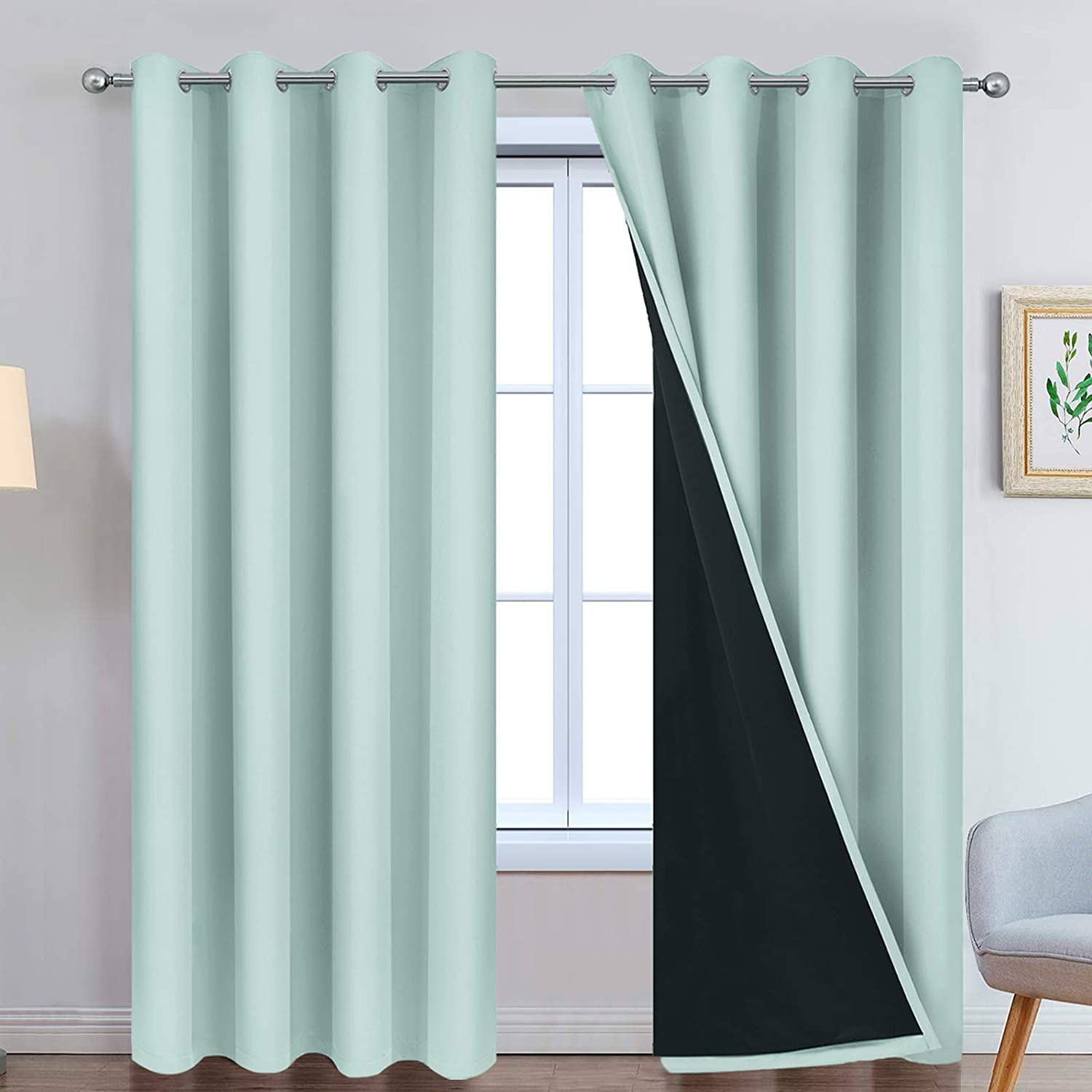 Yakamok 100% Blackout Lined Pair Curtains, Window Treatment Thermal Insulated Soundproof Drapes for Bedroom(52Wx84L, Aqua, 2 Panels) W52 x L84 Aqua