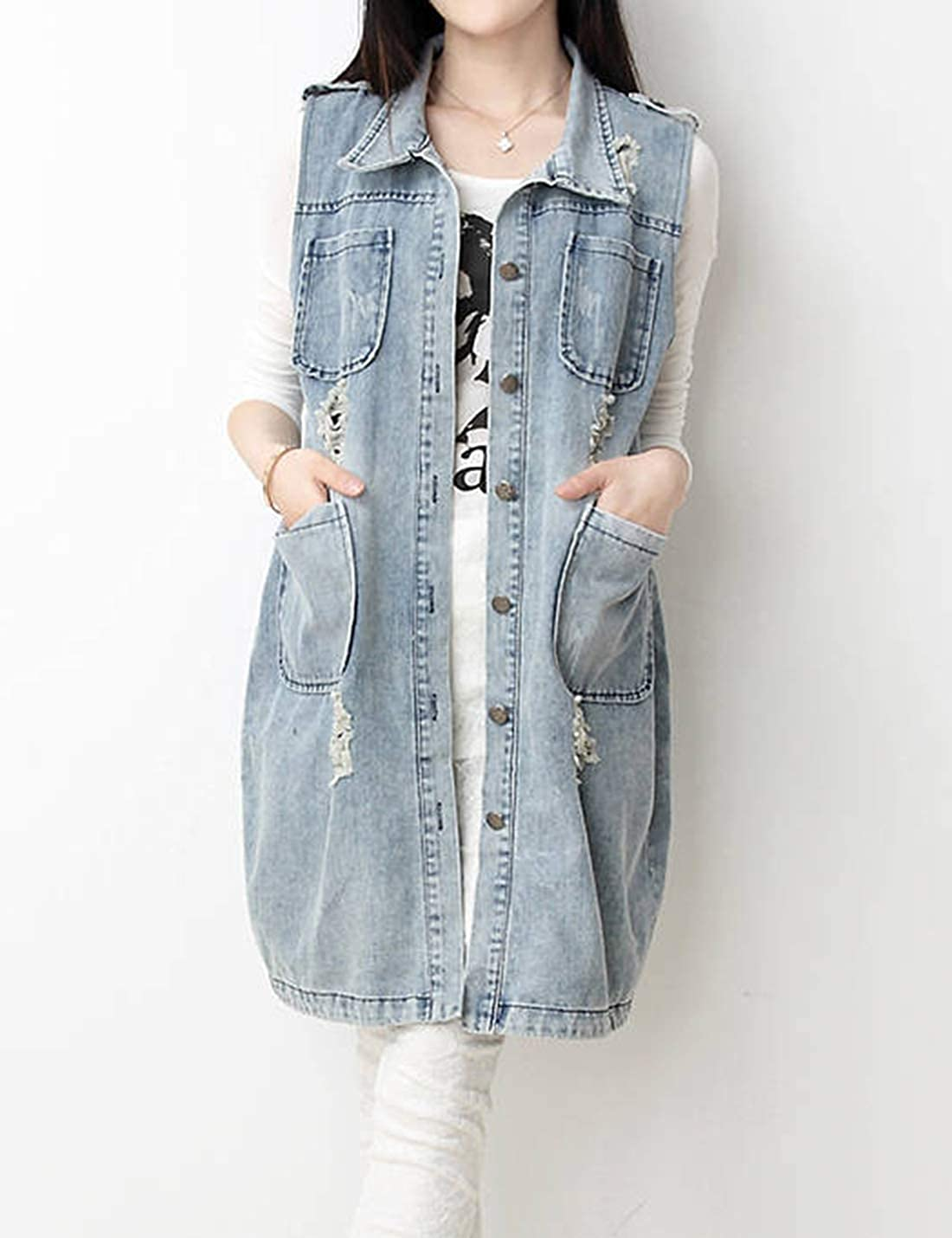 Tanming Womens Vintage Lapel Buttons Up Mid Long Denim Vest Sleeveless Jacket