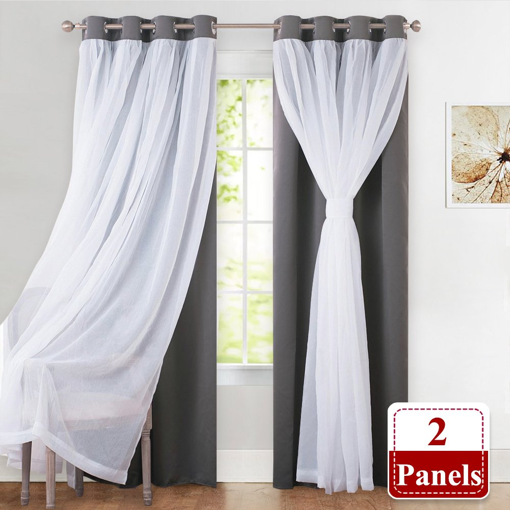 "PONY DANCE Blackout Curtains with Sheer Drapes - Mix & Match Voile Tulle Grommet Top Window Treatments Home Decoration for Girls' Bedroom, 52"" W x 63"" L, Grey, 2 Panles"