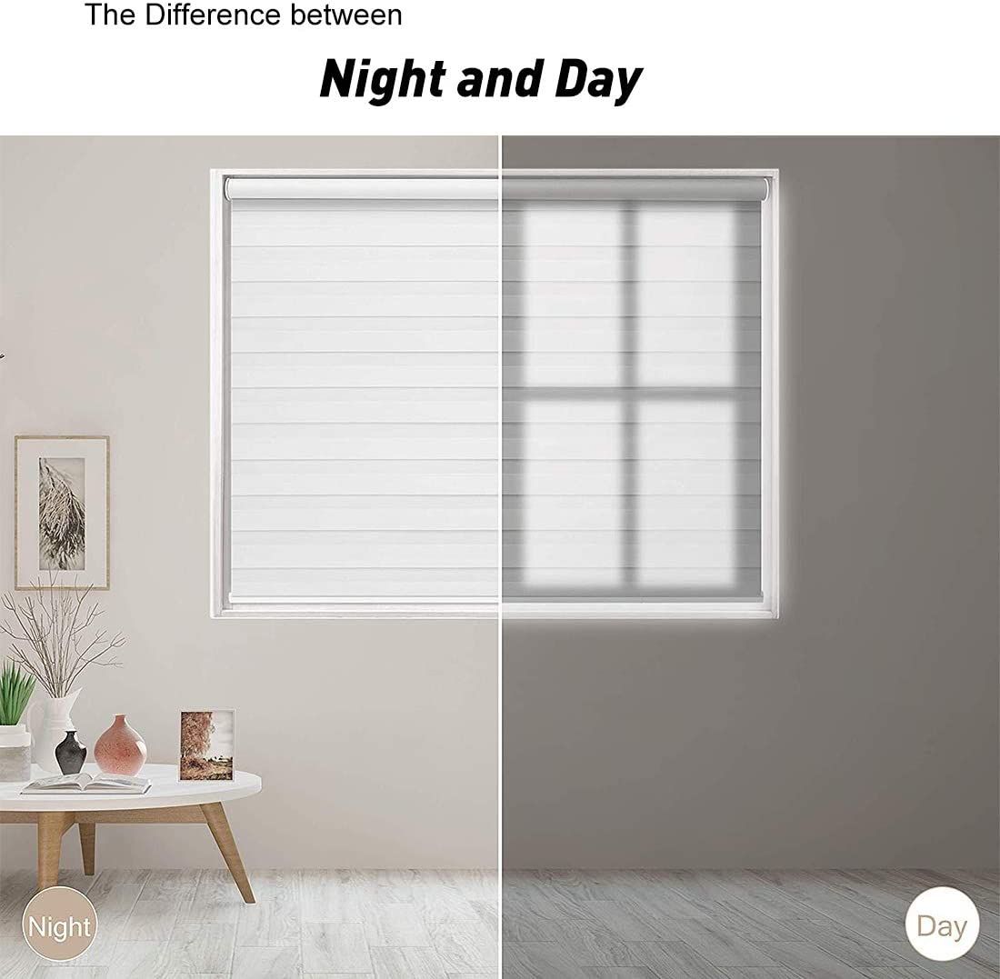 Horizontal Window Blind Dual Layer Roller Shades Day and Night Curtain Drapes Keego Cordless Window Blinds Free-Stop Zebra Blinds Home Series Brown, 20 W X 48 H Sheer or Privacy