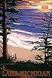 Lake Michigan - Sunset on Beach (12x18 Art Print, Wall Decor Travel Poster)