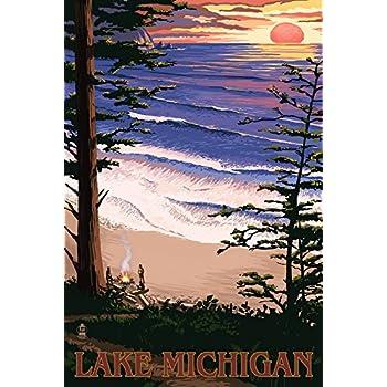 Lake Michigan - Sunset on Beach (9x12 Art Print, Wall Decor Travel Poster)