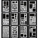 Bullet Journal Stencil Plastic Planner Stencils Journal/Notebook/Diary/Scrapbook DIY Drawing Template Stencil 4x7 Inch, 12 Pieces
