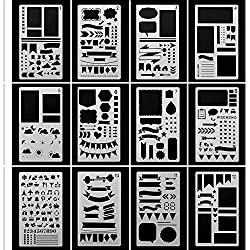 Bullet Journal Stencils Plastic Planner Stencils Journal/Notebook/Diary/Scrapbook DIY Drawing Stencils 4x7 Inch, 12 Pieces