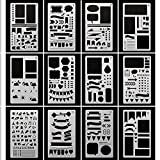 Arts & Crafts : Bullet Journal Stencils Plastic Planner Stencils Journal/Notebook/Diary/Scrapbook DIY Drawing Stencils 4x7 Inch, 12 Pieces