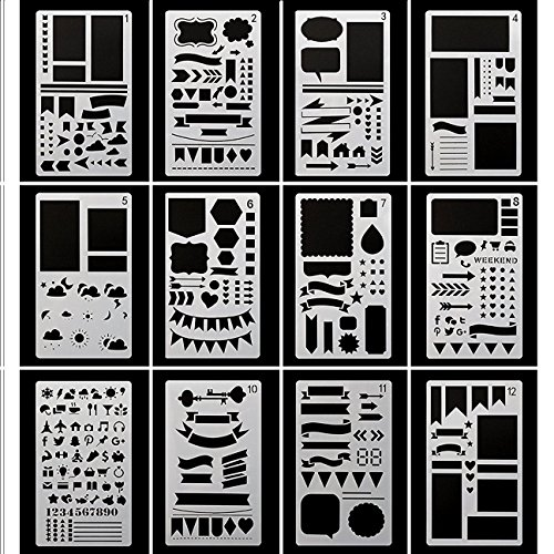 Bullet Journal Stencil Plastic Planner Stencils Journal/Notebook/Diary/Scrapbook DIY Drawing Template Stencil 4x7 Inch, 12 Pieces (Graffiti Style Letters)