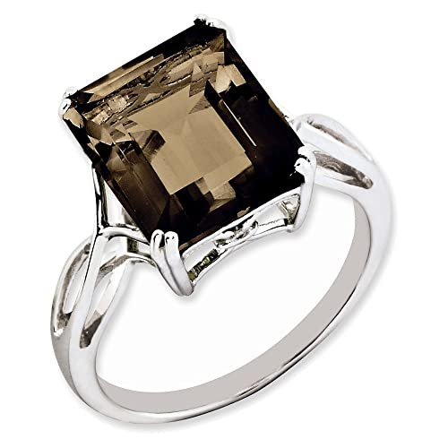 Jewelry Adviser Rings Sterling Silver Rhodium Smoky Quartz Ring