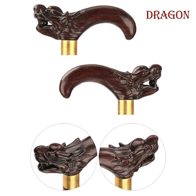 ACZZ Bastón de madera Zodiaco chino Anciano Bastón Talla de madera ...