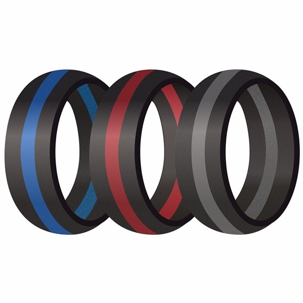 3pcs Silicone Wedding Band for Men And Women, Sport Rings Rubber Thin Line Stripe (color:red blue Grey )