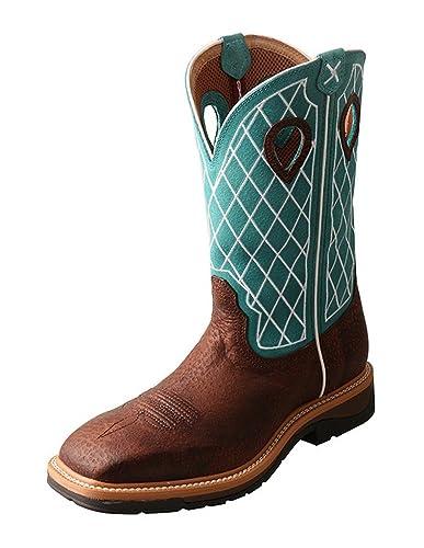 Twisted X Work Boots Mens Lite Pull On Steel Toe Brown Turq MLCS021  B074LRGHHG