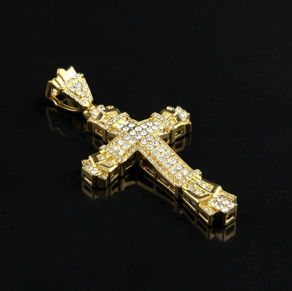 18K Gold Cross Pendant Necklace Multi-Color 24K Gold Naomi 2018 Fashion Mens Stainless Steel Cross Pendant Necklace Flat Byzantine Chain 925 Silver