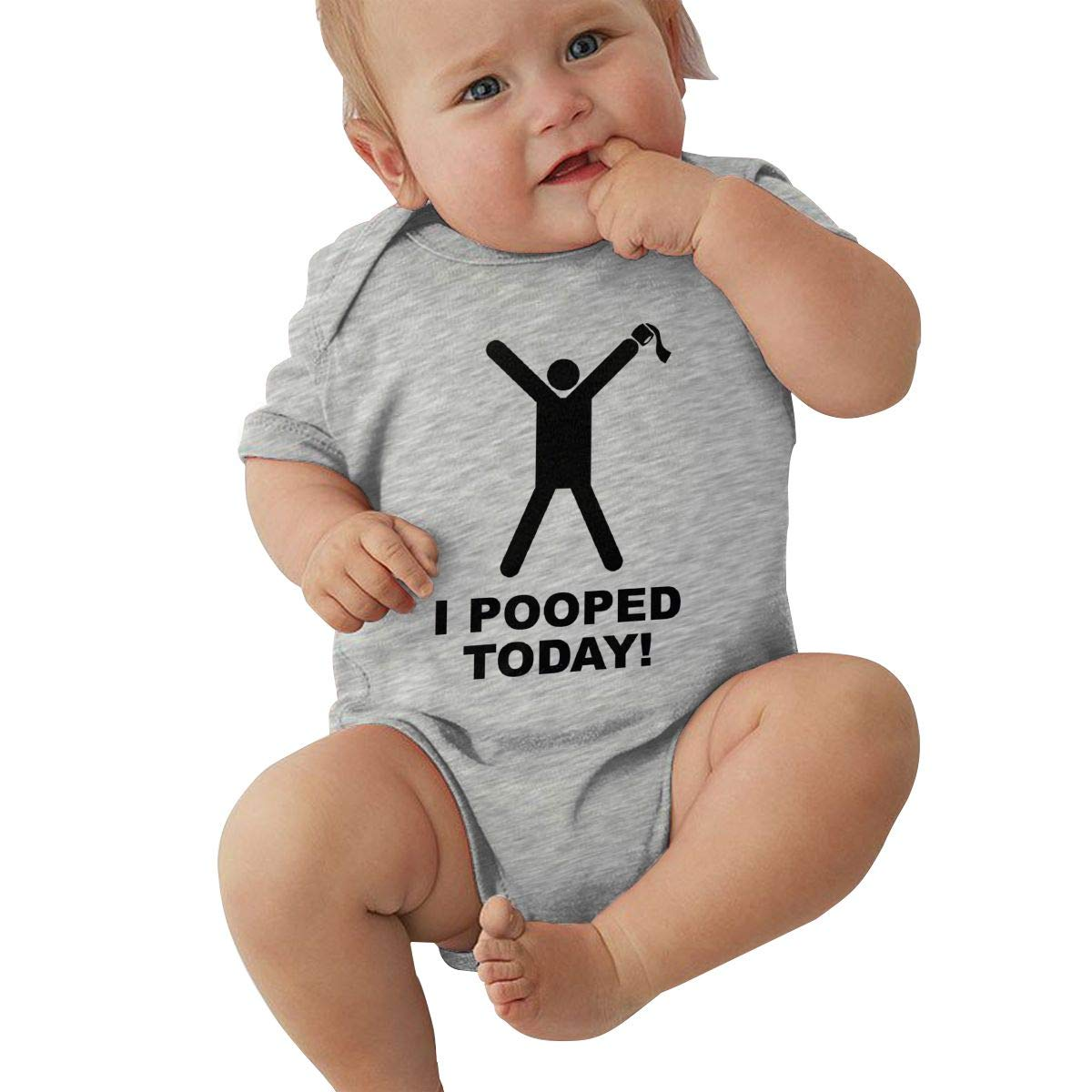 Infant Baby Boys Bodysuit Short-Sleeve Onesie I Pooped Today Print Outfit