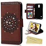 Galaxy S5 Case - Mavis's Diary 3D Handmade Wallet Embossed Flip Folio Cover Tribal Flower Brown PU Leather with Bling Diamonds,Wrist Strap,Card Slots for Samsung Galaxy S5 SM-G900 (Backward Closure)