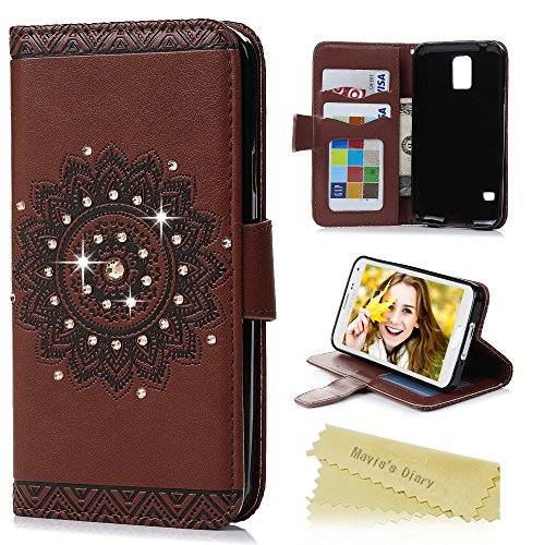 Galaxy S5 Case - Mavis's Diary 3D Handmade Wallet Embossed Flip Folio Cover Tribal Flower Brown PU Leather with Bling Diamonds,Wrist Strap,Card Slots for Samsung Galaxy S5 SM-G900 (Backward Closure) (Galaxy S5 Leather Case Brown)