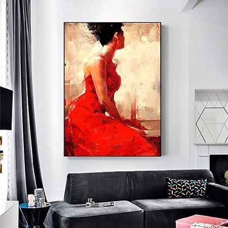 Rtckf Toile Caractères Personnages Jupe Rouge Femme Peinture