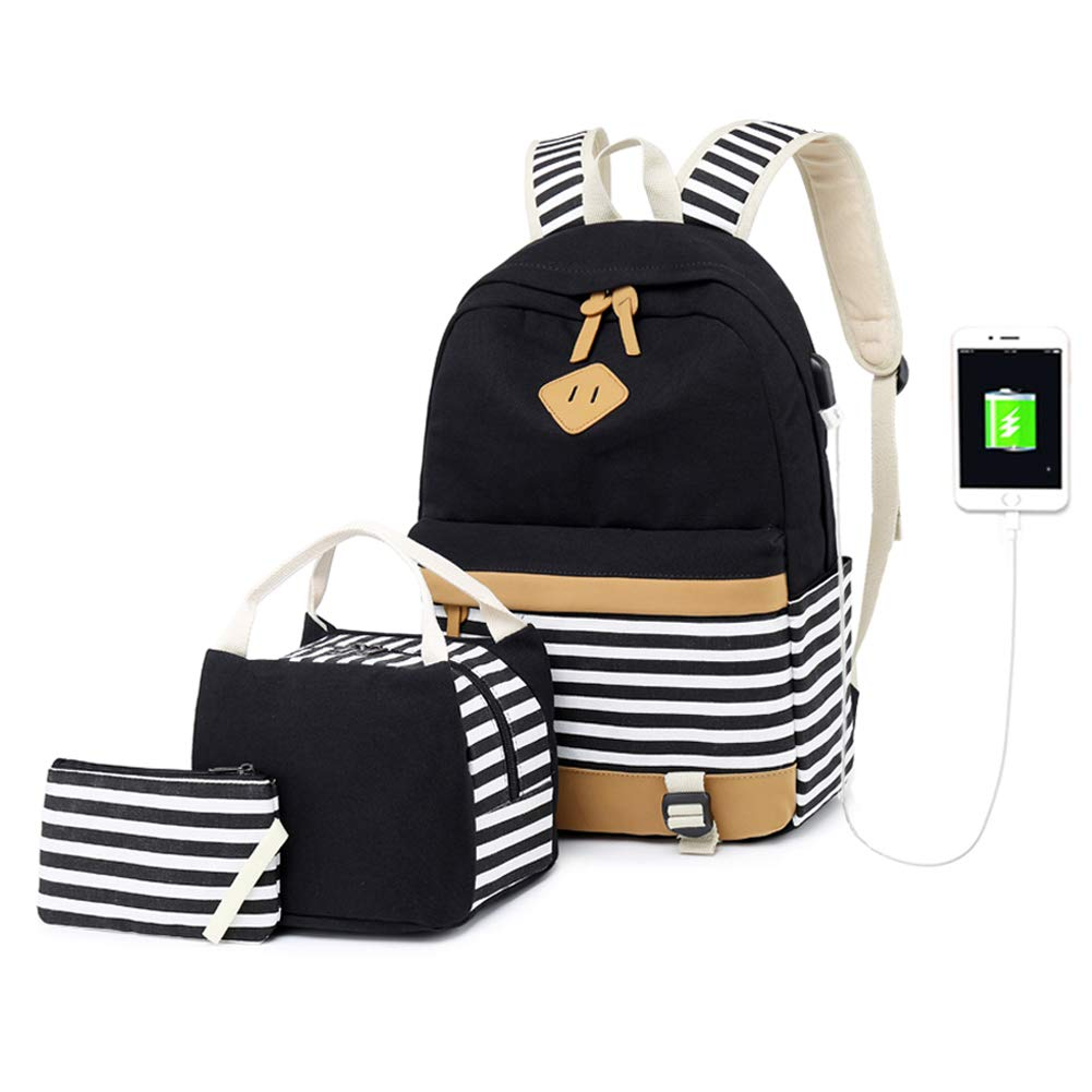 Women College Backpack Teenager Girls School Rucksack Durable USB Charging Bag Canvas Travel