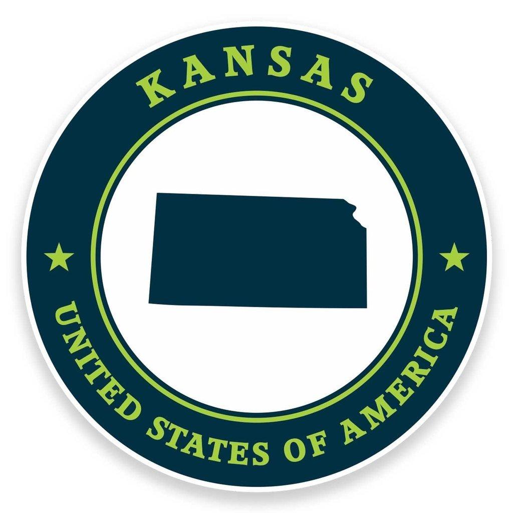 2 x 10cm//100mm Kansas USA Vinyl Sticker Decal Laptop Car Travel Luggage Label Tag #9400