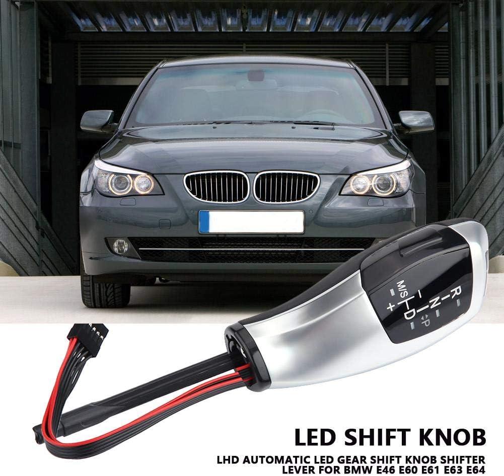 Keenso Elektronischer Schaltknauf Schaltknopfhebel LHD Automatischer LED-Schaltknauf f/ür E46 E60 E61 E63 E64 Tiefschwarz