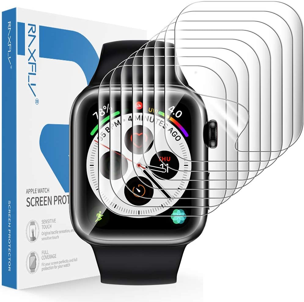 RAXFLY [8 Pack] Screen Protector Compatible with for Apple Watch Series 6/5/4 SE 44mm and Apple Watch Series 3/2/1 42mm Soft HD Full Coverage Screen Protector