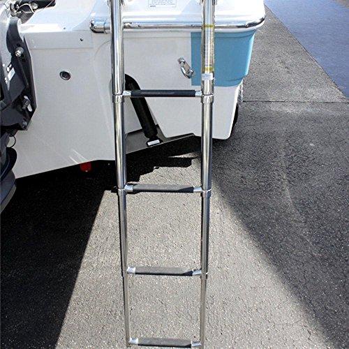 4 Step Stainless Steel Telescoping Boat Ladder Swim Marine Upper Platform Ladder by HOFFEN (Image #3)