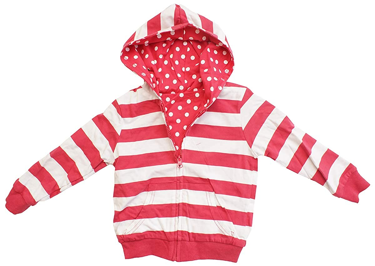 Get Wivvit Girls Reversible Polka Spot Stripe Zipper Hoody Jacket Top Sizes from 9 Months to 5 Years