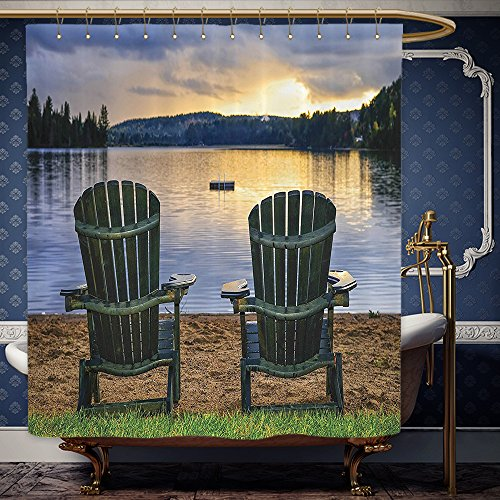 Wanranhome Custom-made shower curtain Seaside Decor Set Two Wooden Chairs on Relaxing Lakeside at Sunset. Algonquin Provincial Park Canada Navy Green For Bathroom Decoration 72 x 108 - Sunset Map At Galleria