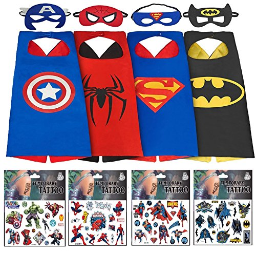 Superhero Dress Up Costumes For Boys - 4 Satin Capes, 4 Felt Masks + 4 Superhero Tattooes by (Couples Cosplay Costumes)