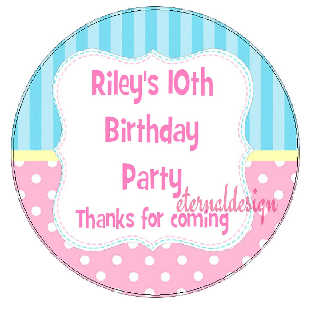 Eternal Design 12 x 63mm Personalised Glossy Kids Birthday Party