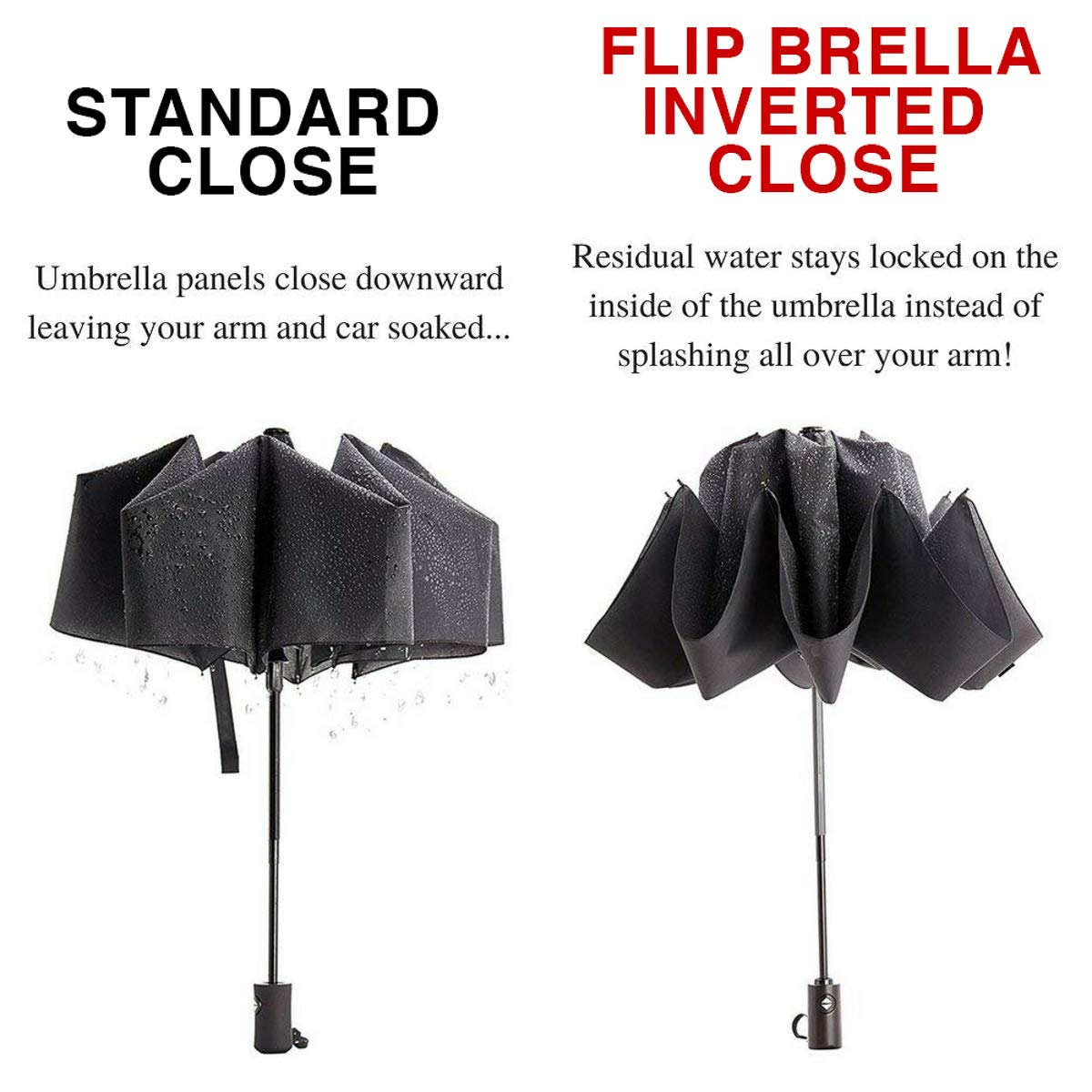 Pocket Flip Compact Travel Umbrella Windproof Auto Open Close Inverted Mini Umbrella Small Reverse TRI-5624-U5-170320 3 Pack