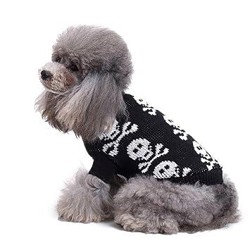 Suéter para mascotas, Engrosamiento de punto Skull Head Pet Ropa para perros pequeños Warm Vest