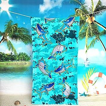 jhxena Toalla De Playa De Algodón Niños Cartoon Toalla Playa Manta,Tiburón Azul: Amazon.es: Hogar
